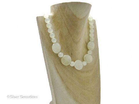 Chunky Hint of Green Bowenite Jade Coins & Sterling Silver Necklace